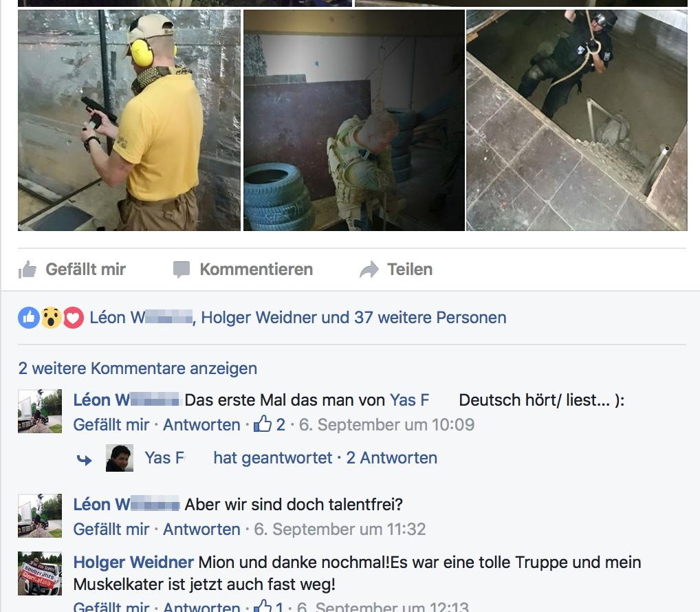 Holger Weidner bedankt sich beim Veranstalter für die Schulung. Screenshot: Facebook
