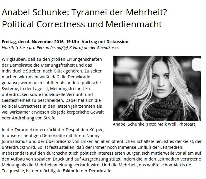 Ankündigungstext zu Schunkes Vortrag in der Bibliothek des Konservatismus.
