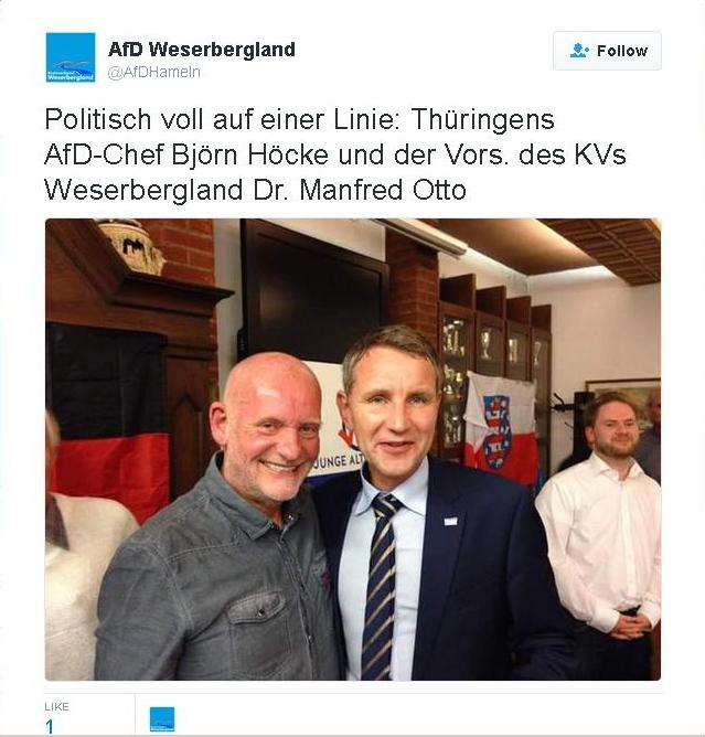 Hand in Hand: Manfred Otto und Björn Höcke Screenshot: Twitter
