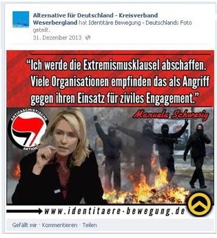 """Beitrag der """"Identitären Bewegung"""" geteilt Screenshot: Facebook"""