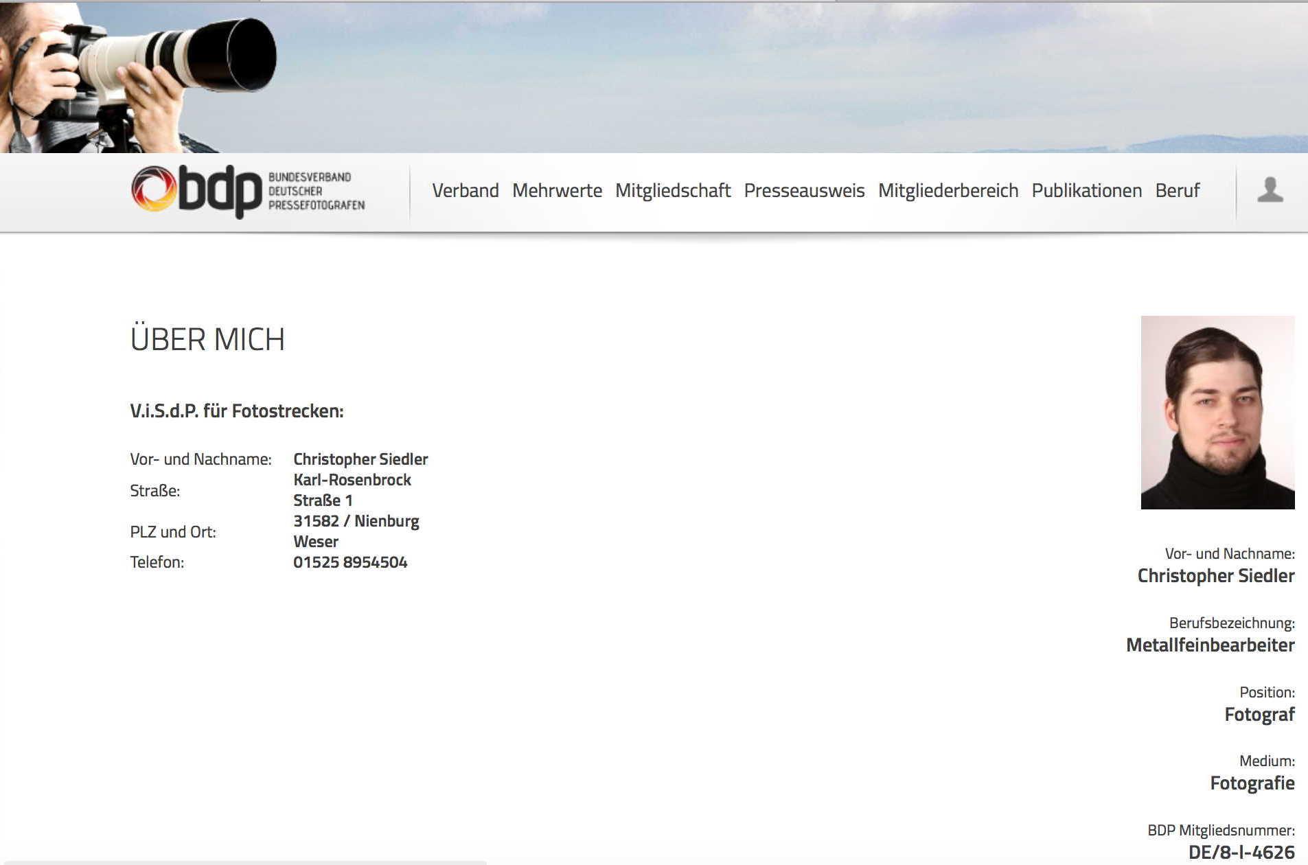 Profil von Siedler auf Bundesverband Deutscher Pressefotografen  Screenshot: b-dp.de